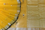 Mustard Yellow / Royal Blue Handwoven Kota Silk Saree.