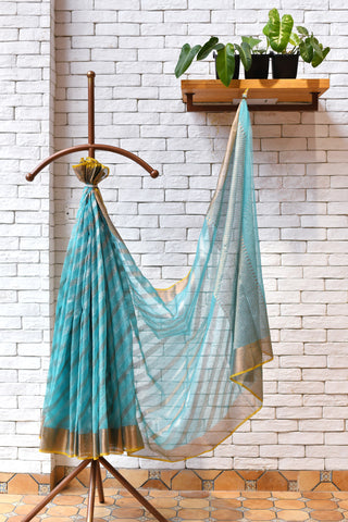 Sky Blue / White Handwoven Kota Silk Saree