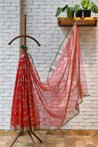Red Silver Handwoven Kota Silk Saree.