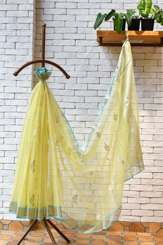 Pastel Yellow / Blue Handwoven Kota Silk saree.