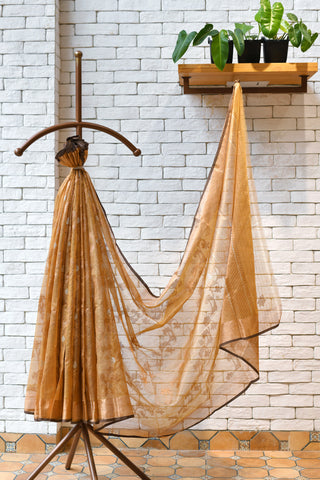 Golden / Brown Handwoven Real Zari Kota  Silk Saree.