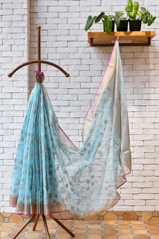 Light Blue / Pink  Handwoven Kota Silk Saree.