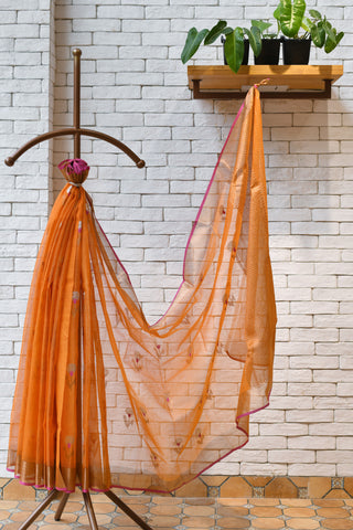Orange / Pink Handwoven Kota Silk  Saree