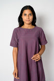 Grape purple mangalagiri pure cotton dress - EARTHICA