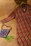 Ajrakh V neck kurta with three fourth sleeves with details at neck and sleeves