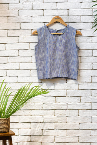 Ikat sleeveless Short Top.