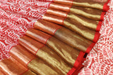 Red Batik Print Handwoven Chanderi Saree with  Gold Zari  Border and Blouse.