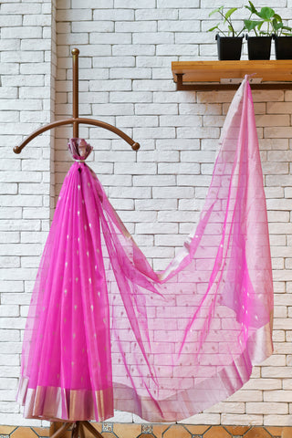 Chanderi  Neon Pink Handwoven Saree.
