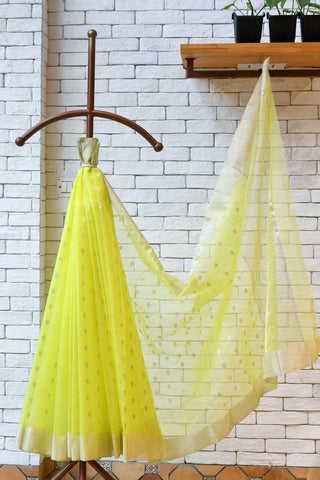 Chanderi Greenish Yellow  Handwoven Saree.