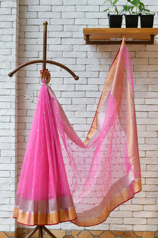 Chanderi Pink Handwoven Saree.