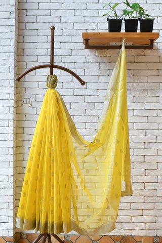 Chanderi Yellow Handwoven Saree.