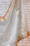 Chanderi Light Blue Handwoven Flower Motif Saree