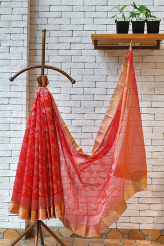 Chanderi Red Handwoven All-Over Floral Motif  Saree.