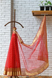 Chanderi Bright Red Handwoven Flower Motif Saree.