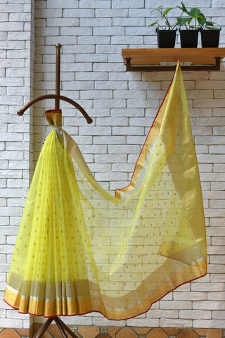 Chanderi Neon Yellow Handwoven Flower Motif Saree