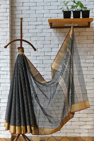 Chanderi Dark Grey Handwoven Drop Motif Saree.