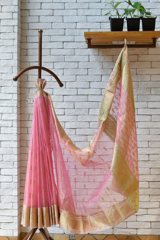 Chanderi Pink / Peach Handwoven Leaf Motif  Saree.
