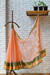 Chanderi Light Orange Handwoven Circle Motif Saree.