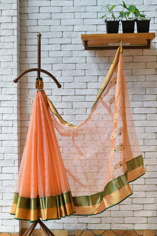 buy this unique light orange handwoven chanderi saree