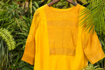 Corn yellow chanderi straight kurta - EARTHICA