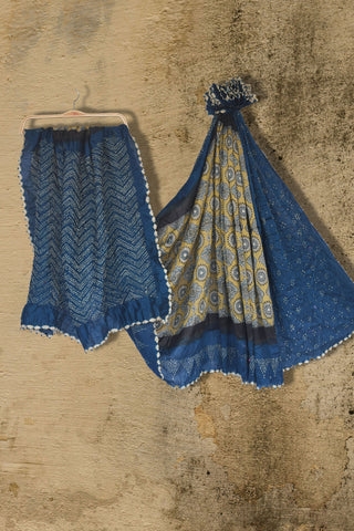Mustard yellow ajrakh printed chanderi saree with blue bandhani border - EARTHICA