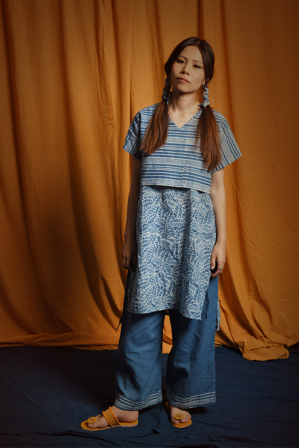Indigo blue batik pants - EARTHICA