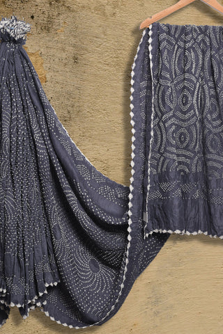 Grey bandhani muga/munga silk saree - EARTHICA