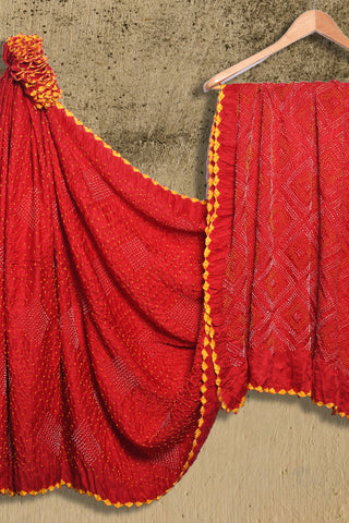 Cherry red bandhani muga/munga silk saree - EARTHICA