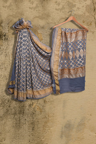 Grey Banaras Bandhani pure georgette saree - EARTHICA