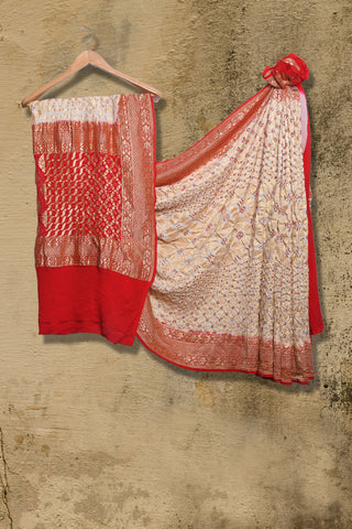 Off white and Red Banaras Bandhani pure georgette saree - EARTHICA