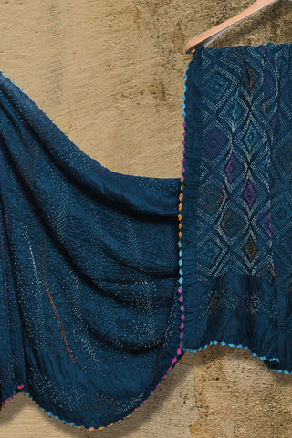 Peacock blue bandhani muga/munga silk saree - EARTHICA
