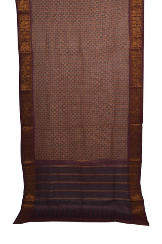 Brown cotton Ajrakh printed saree with maroon border - EARTHICA