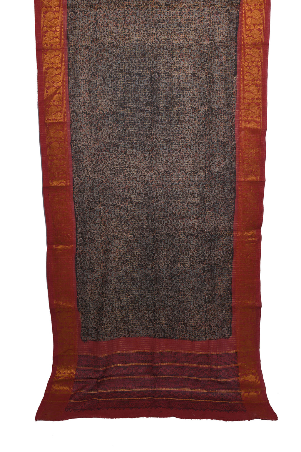 Ajrakh printed cotton saree with saree border