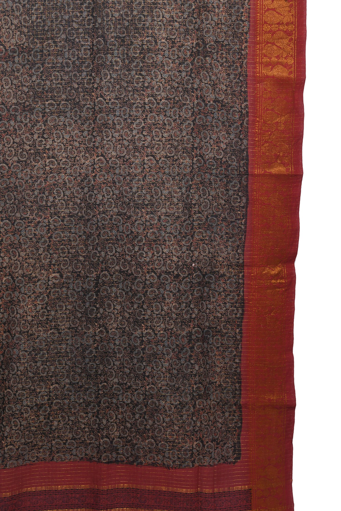 Black Ajrakh printed cotton saree with maroon border - EARTHICA
