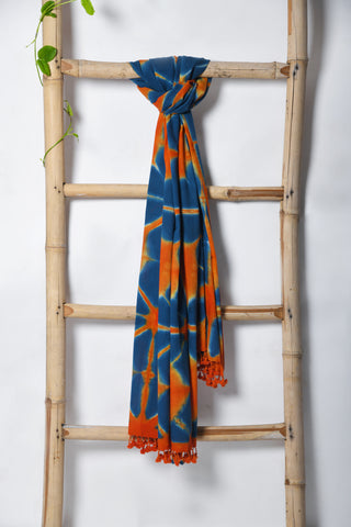Handwoven Kala Cotton Clamp dyed Stole