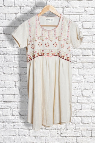 White khadi kurta with sandur embroidery - EARTHICA