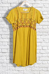 Mustard yellow khadi kurta with sandur embroidery. - EARTHICA