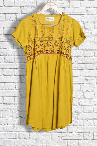 Khadi Collared Kurta with Sandur Embroidery