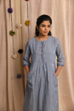 Steel grey handwoven jamdani dress - EARTHICA