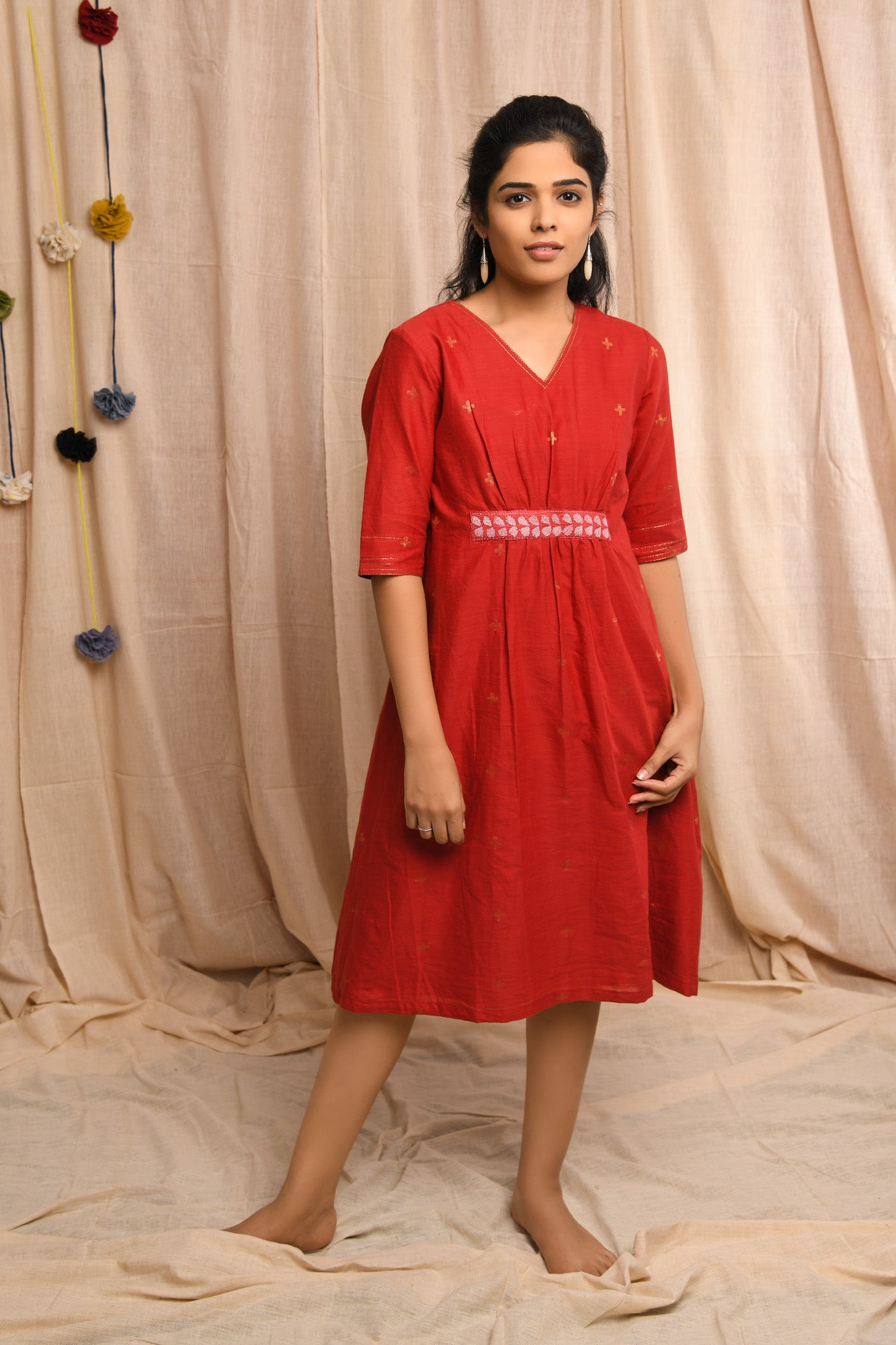 Cherry Red Handwoven jamdani dress - EARTHICA