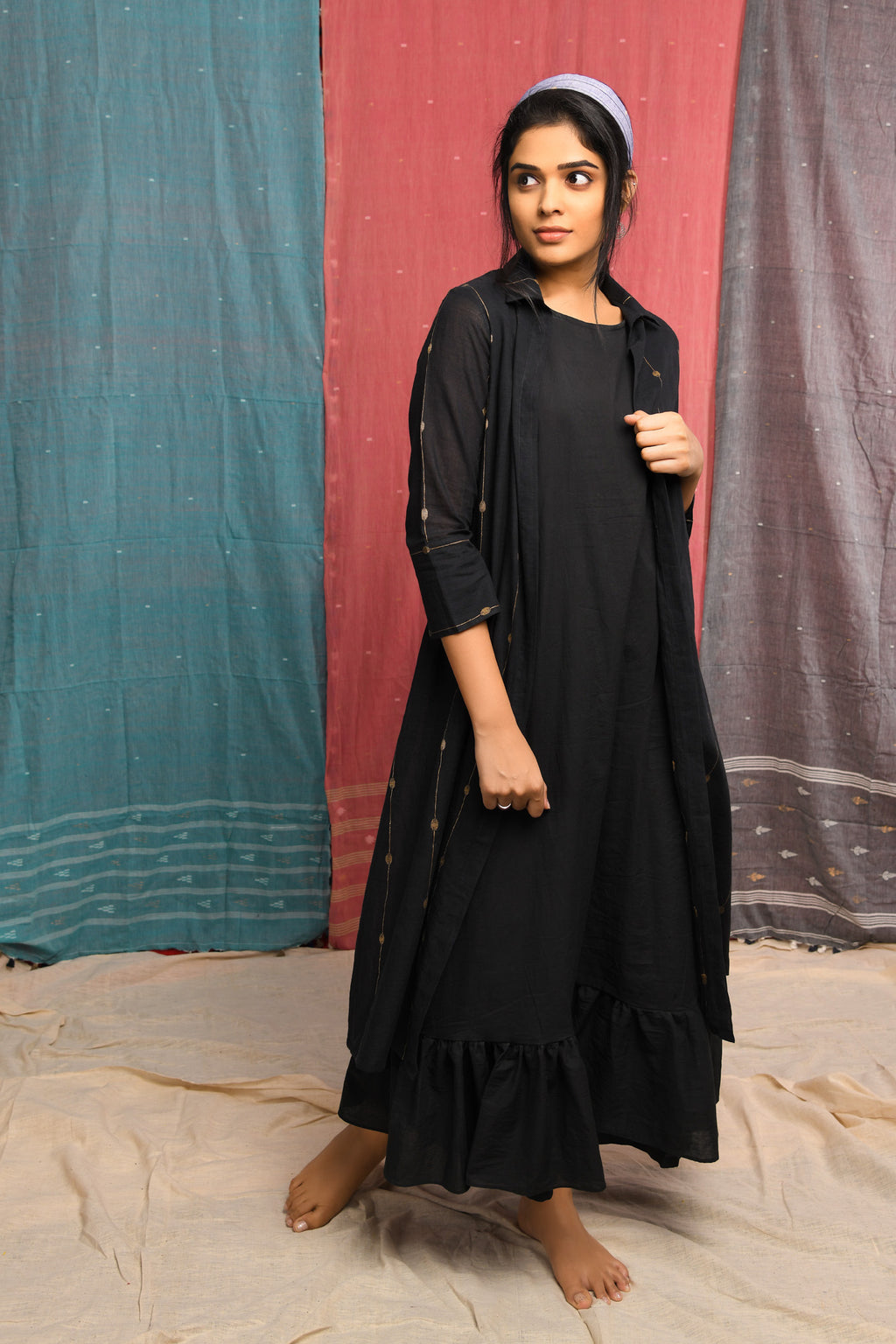Jamdani - Black Muslin inner with long jacket