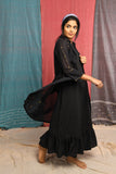Black gathered dress with jamdani jacket - EARTHICA