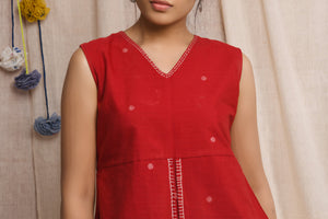 Cherry red handwoven jamdani sleeve less top - EARTHICA