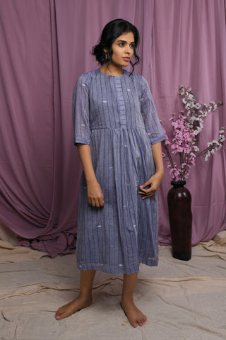 Cloudy Grey Striped Jamdani Gathered Dress. - EARTHICA