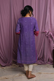 MELLOW-Purple handwoven jamdani dress - EARTHICA
