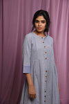 Blue and white striped Handspun handwoven khadi dress - EARTHICA