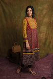 Madder red ajrakh flared kurta/dress - EARTHICA