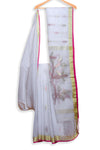 White handwoven jamdani saree - EARTHICA