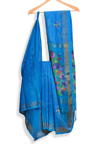 Blue handwoven jamdani saree - EARTHICA