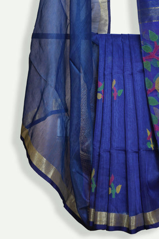 Dark blue Handwoven jamdani saree - EARTHICA